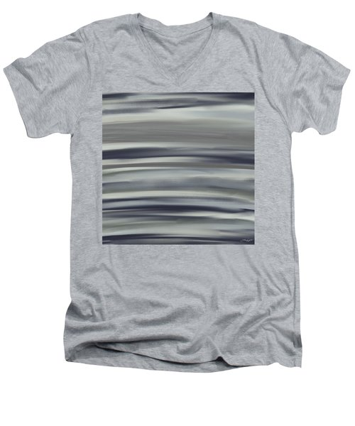 Charcoal And Blue Men's V-Neck T-Shirt