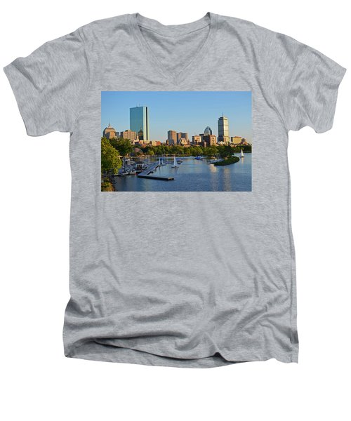 Charles River At Sunset Men's V-Neck T-Shirt