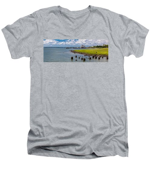 Men's V-Neck T-Shirt featuring the photograph Charleston Harbor by Sennie Pierson
