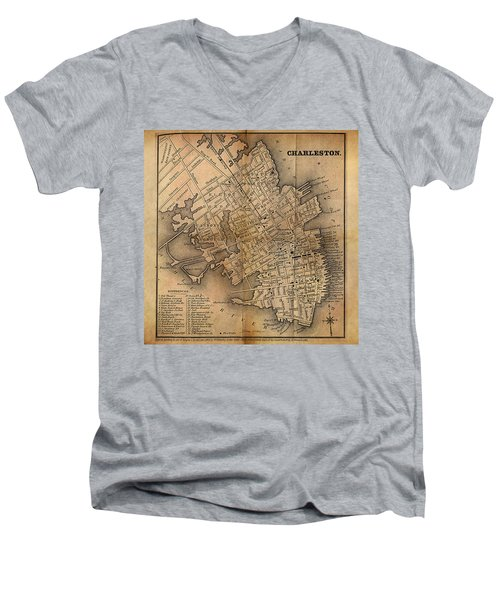 Men's V-Neck T-Shirt featuring the painting Charleston Vintage Map No. I by James Christopher Hill