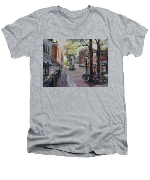 Charlottesville's Historic Downtown Mall Men's V-Neck T-Shirt by Donna Tuten