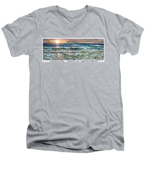 Men's V-Neck T-Shirt featuring the painting Chasing Chatham Beach Sunsets by Rita Brown