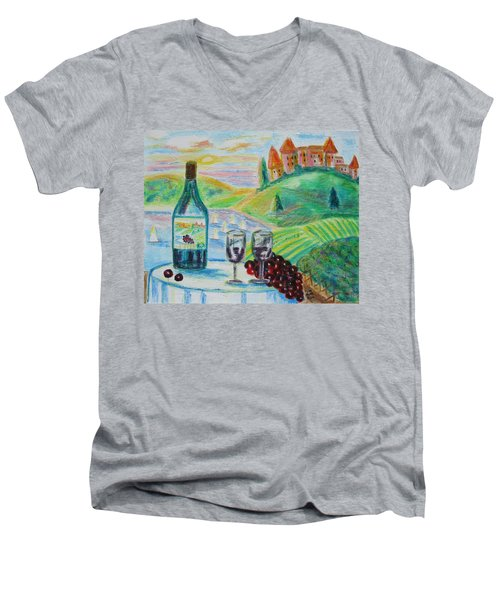 Men's V-Neck T-Shirt featuring the painting Chateau Wine by Diane Pape