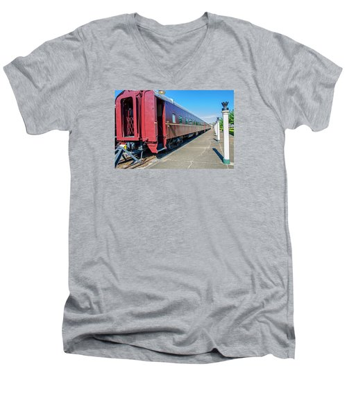 Men's V-Neck T-Shirt featuring the photograph Chattanooga Choo Choo 1 by Susan  McMenamin