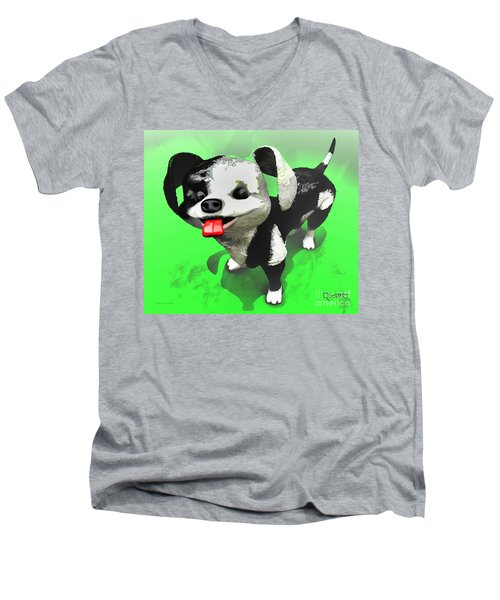 Men's V-Neck T-Shirt featuring the painting Checkmate by Dave Luebbert