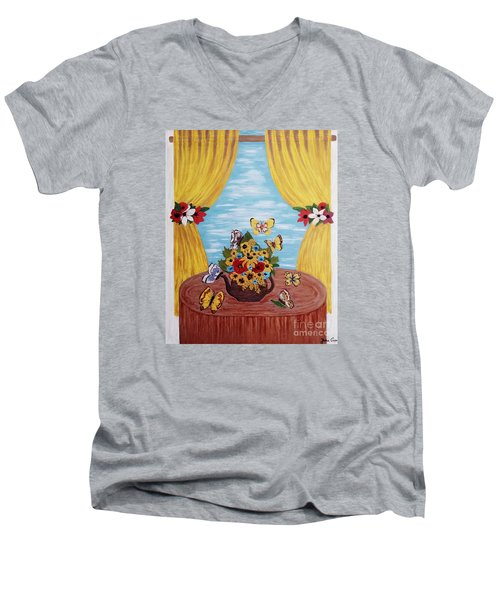 Men's V-Neck T-Shirt featuring the painting Cheerful Butterflies by Jasna Gopic