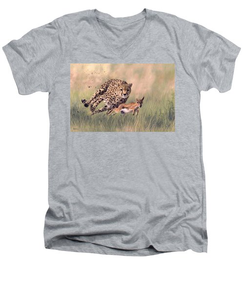 Cheetah And Gazelle Painting Men's V-Neck T-Shirt