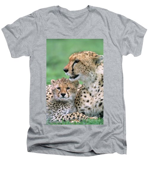 Cheetah Mother And Cub Men's V-Neck T-Shirt