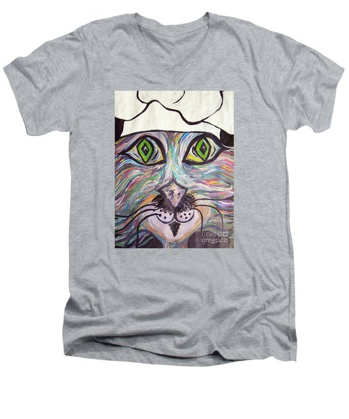 Men's V-Neck T-Shirt featuring the painting Chef Pierre ... A Cat With Good Taste by Eloise Schneider