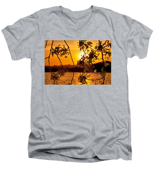 Men's V-Neck T-Shirt featuring the photograph Cherry Blossom Sunset by Mitchell R Grosky