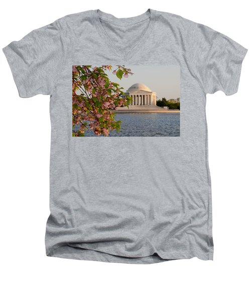 Men's V-Neck T-Shirt featuring the photograph Cherry Blossoms And The Jefferson Memorial 3 by Mitchell R Grosky