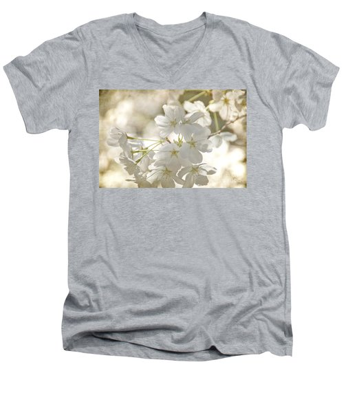 Cherry Blossoms Men's V-Neck T-Shirt by Peggy Hughes