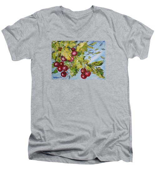 Men's V-Neck T-Shirt featuring the painting Cherry Breeze by Kathleen Pio