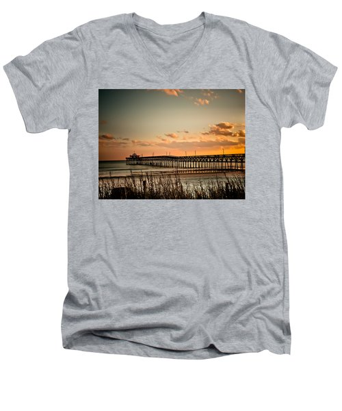 Cherry Grove Pier Myrtle Beach Sc Men's V-Neck T-Shirt by Trish Tritz