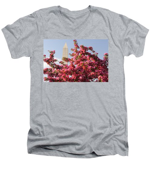 Men's V-Neck T-Shirt featuring the photograph Cherry Trees And Washington Monument 5 by Mitchell R Grosky