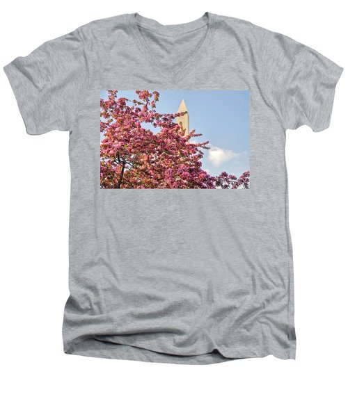 Men's V-Neck T-Shirt featuring the photograph Cherry Trees And Washington Monument One by Mitchell R Grosky