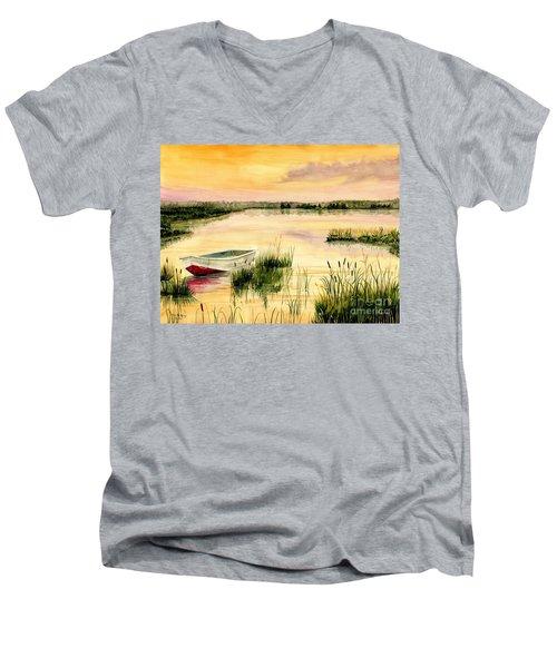 Chesapeake Marsh Men's V-Neck T-Shirt by Melly Terpening