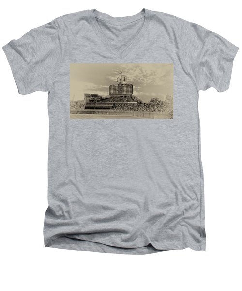 Chicago Cubs Scoreboard In Heirloom Finish Men's V-Neck T-Shirt by Thomas Woolworth