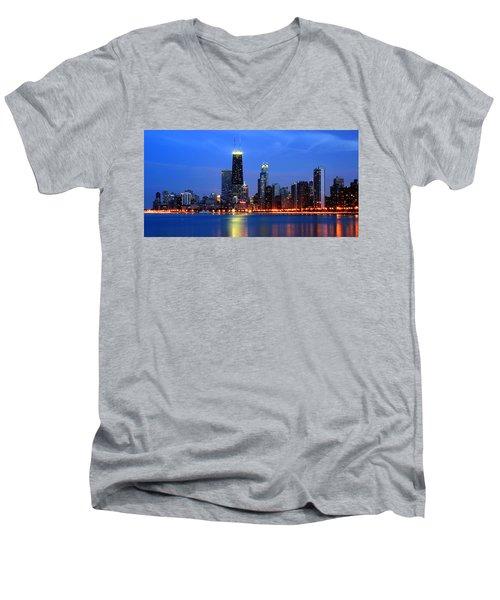 Chicago Dusk Skyline Hancock Men's V-Neck T-Shirt