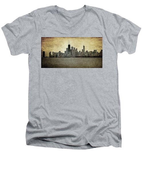 Chicago On Canvas Men's V-Neck T-Shirt