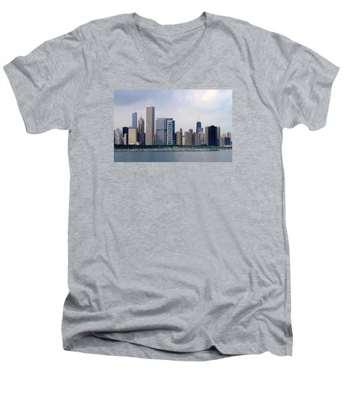 Chicago Panorama Men's V-Neck T-Shirt by Milena Ilieva