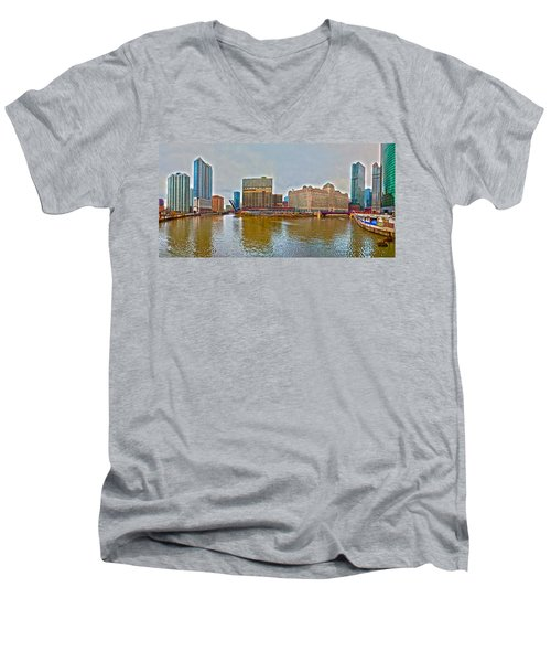 Men's V-Neck T-Shirt featuring the photograph Chicago Skyline And Streets by Alex Grichenko
