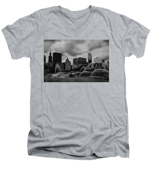 Men's V-Neck T-Shirt featuring the photograph Chicago City Skyline by Miguel Winterpacht