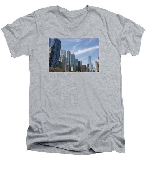 Chicago Skyscrapers Men's V-Neck T-Shirt by The Art of Alice Terrill