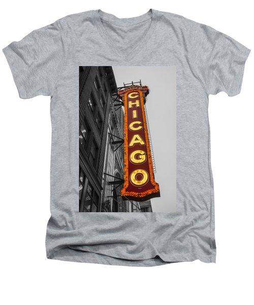 Chicago Theater Selective Color Men's V-Neck T-Shirt