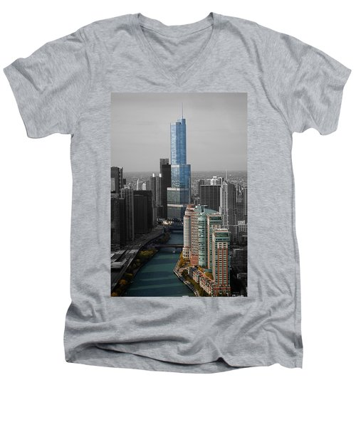 Chicago Trump Tower Blue Selective Coloring Men's V-Neck T-Shirt by Thomas Woolworth