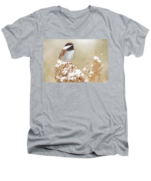 Chickadee And Falling Snow Men's V-Neck T-Shirt by Peggy Collins
