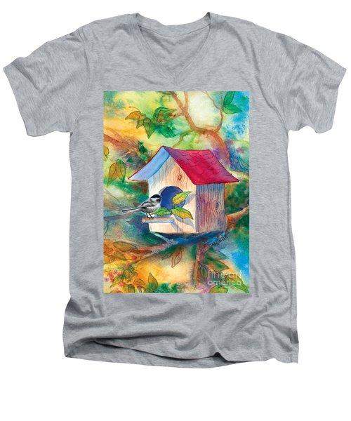 Chickadee Bungalow Men's V-Neck T-Shirt by Teresa Ascone
