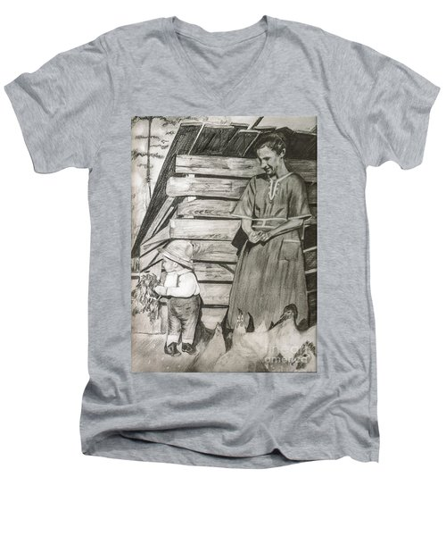 Chicken Coop - Woman And Son - Feeding Chickens Men's V-Neck T-Shirt