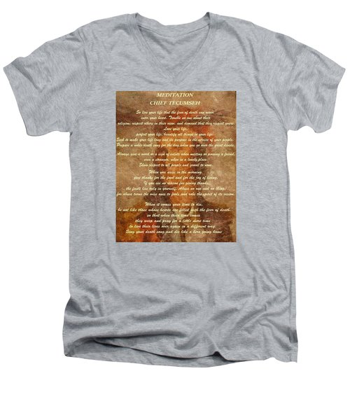 Chief Tecumseh Poem Men's V-Neck T-Shirt by Dan Sproul