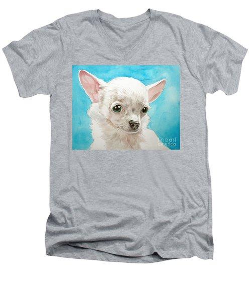 Chihuahua Dog White Men's V-Neck T-Shirt