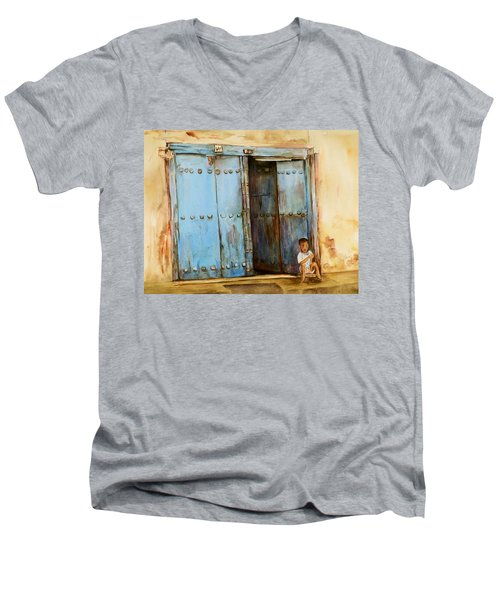 Men's V-Neck T-Shirt featuring the painting Child Sitting In Old Zanzibar Doorway by Sher Nasser