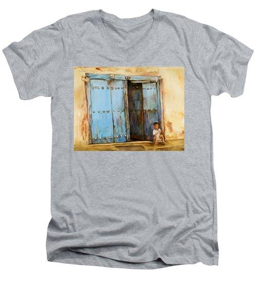 Child Sitting In Old Zanzibar Doorway Men's V-Neck T-Shirt