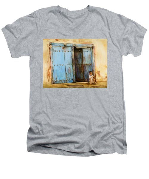 Child Sitting In Old Zanzibar Doorway Men's V-Neck T-Shirt