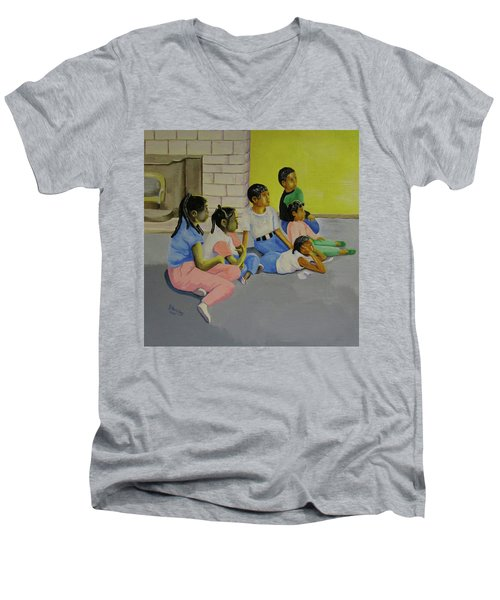 Men's V-Neck T-Shirt featuring the painting Children's Attention Span  by Thomas J Herring
