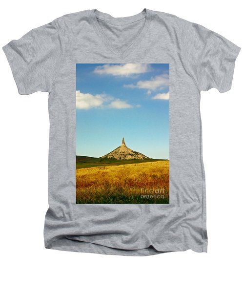 Chimney Rock Nebraska Men's V-Neck T-Shirt