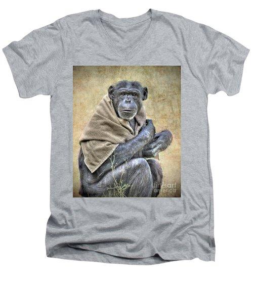 Men's V-Neck T-Shirt featuring the photograph Chimpanzee by Savannah Gibbs