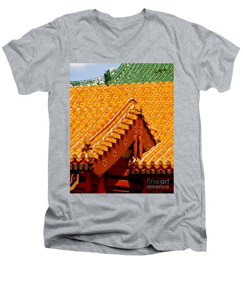 Men's V-Neck T-Shirt featuring the photograph China Pavilion by Joy Hardee
