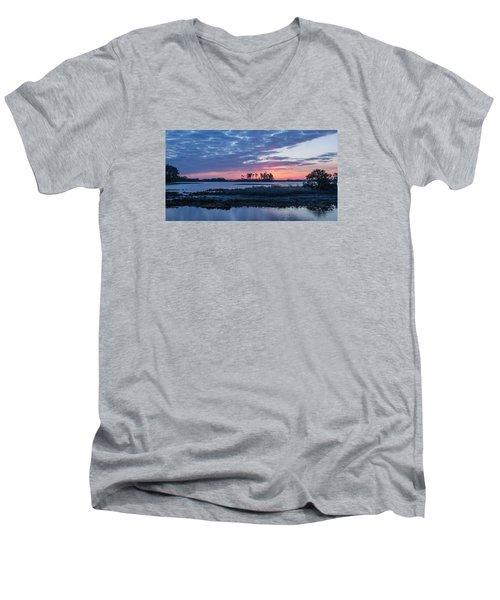 Chincoteague Wildlife Refuge Dawn Men's V-Neck T-Shirt by Photographic Arts And Design Studio