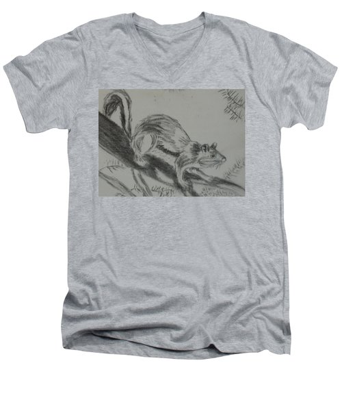 Men's V-Neck T-Shirt featuring the drawing Chipmunk On The Prowl by Thomasina Durkay