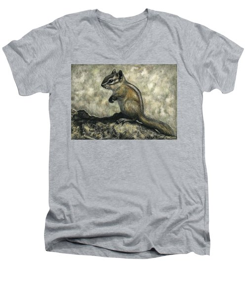 Men's V-Neck T-Shirt featuring the drawing Chipmunk  by Sandra LaFaut