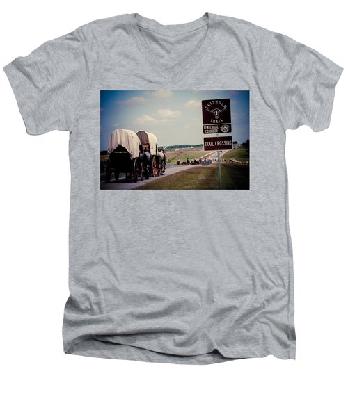 Chisholm Trail Centennial Cattle Drive Men's V-Neck T-Shirt by Toni Hopper