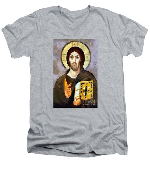 Christ Pantocrator Of Sinai Men's V-Neck T-Shirt