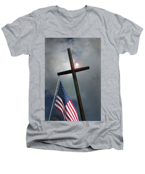 Christian Cross And Us Flag Men's V-Neck T-Shirt