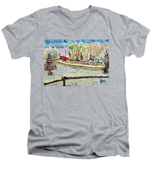 Men's V-Neck T-Shirt featuring the painting Christmas At Cissy's Farm by Michael Daniels