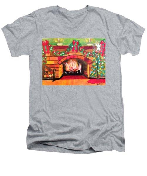 Christmas At The Cabin Men's V-Neck T-Shirt